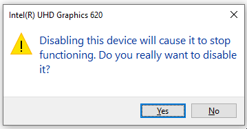 Display Adapter Disable Prompt