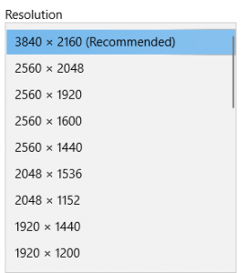 Windows Display Resolution Menu